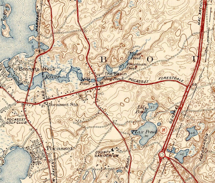 Pocasset River (Massachusetts) Map - 1943